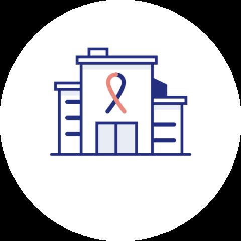 Icon zu großes onkologisches Zentrum oder Klinik, vermittelt Spezialisten